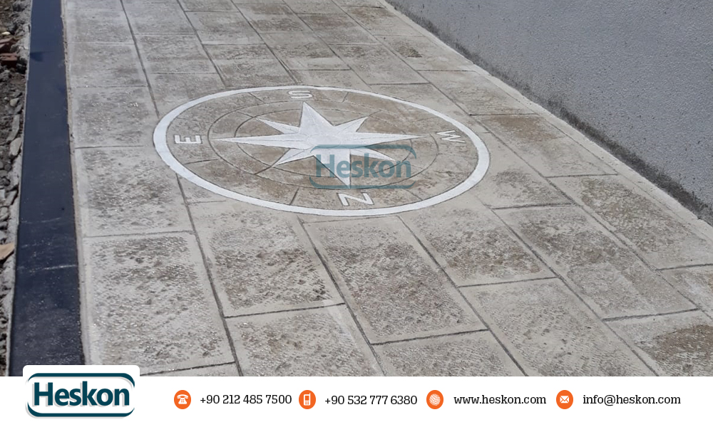 Desenli Baski Beton Kalip Tas Pusula Patterned Stamped Mold Stone Compass 2