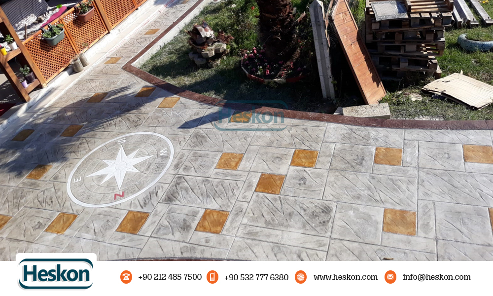 Desenli Baski Beton Kalip Tas Pusula Patterned Stamped Mold Stone Compass